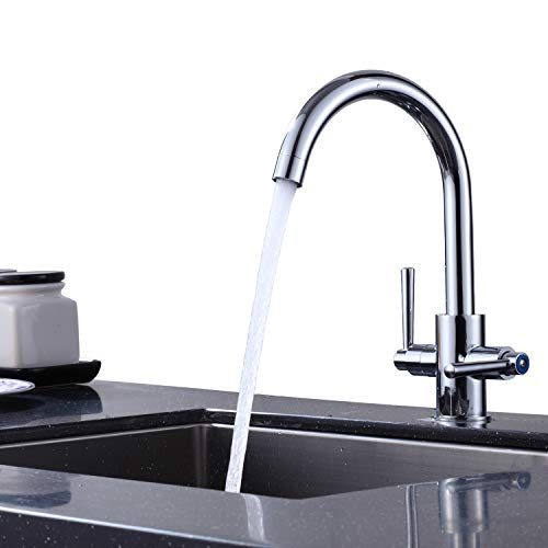 AIBOOSTPRO Kitchen Mixer Tap Dual Lever Swivel Spout Chrome Kitchen Sink Tap, Easy Fit with UK Standard Fittings (Silver)