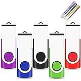 EASTBULL - Lote de 5 unidades de memoria USB de 64 GB (64 GB, USB 2.0, memoria giratoria, disco de memoria en U (color mixto: negro, azul, morado, rojo y verde)