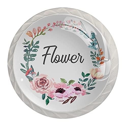 4 pomos para gabinetes de cocina con tornillos, pomos de cristal para aparador, cajones, pomos de gabinete, guirnalda floral de acuarela de 35 mm