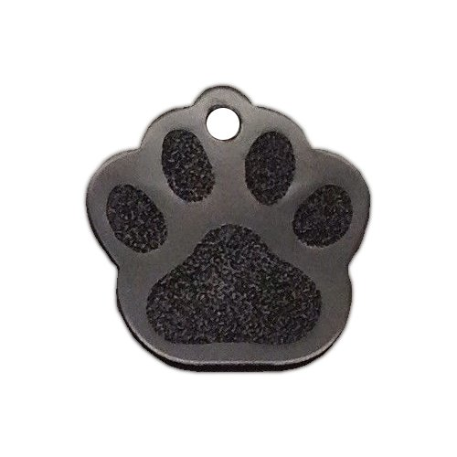 io tags Large Paw Print Pet ID Tag Custom Diamond Engraved Dog Cat Personalized Aluminum (Black)
