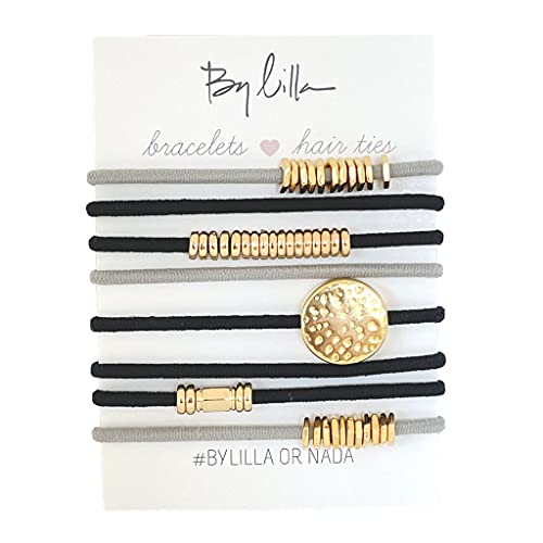 By Lilla Moonlight Stack Elastic Hair Ties and Bracelets | Set of 8 Hair Tie-Bracelets | Hair Accessories for Women | No Crease Hair Ties & Women's Bracelets (Black / Gray / Gold)