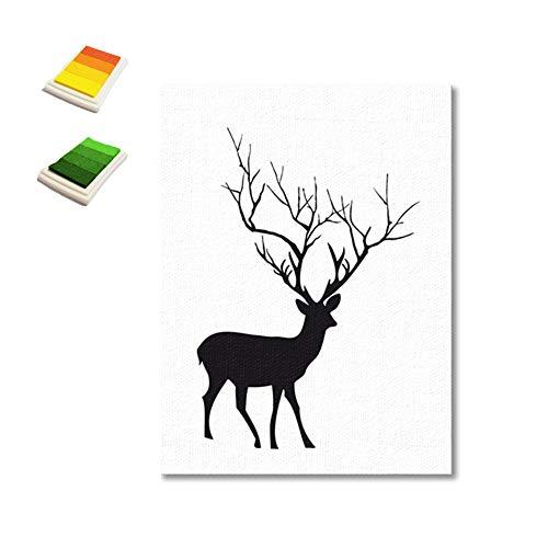 little finger Elk Style DIY Fingerabdruck Gemälde Community-Signiertafel Hochzeit Party Unterschrift Gästebuch Wanddekoration Multi