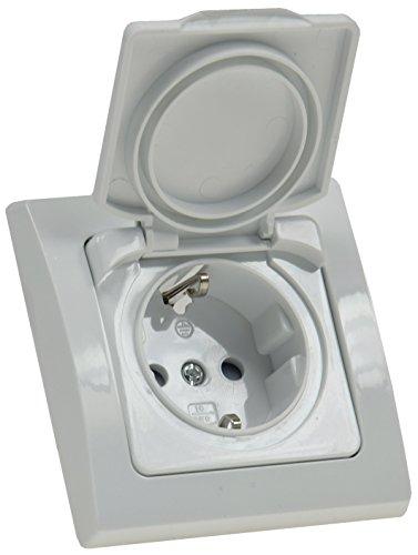 DELPHI Steckdose Unterputz IP44 mit Klapp-Deckel 230V Schutzkontakt-Steckdose Für Feuchtraum Innen Aussen Weiß