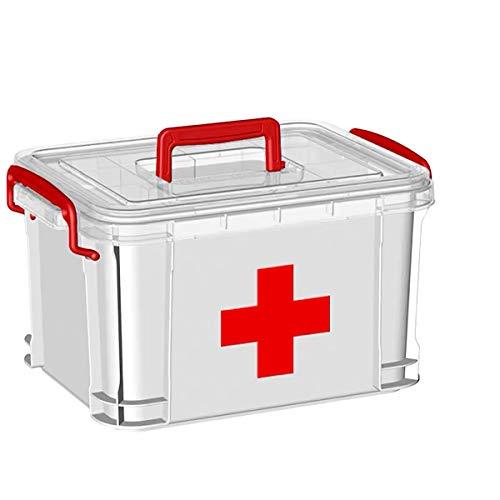 SOYYD Medizin-Box, Plastik Erste Hilfe Box Aufbewahrungskasten Medizin Box mit Griff mit herausnehmbarem Ablagefach Arzneimittelbox Medikamentenbox Organizer, ca. 33 x 24 x 19 cm