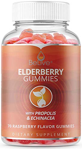 Elderberry Gummies with Vitamin C, Propolis, Echinacea. Max Strength 200MG, Sambucus Immune Support for Adults and Kids, Raspberry Flavored, 70 Count