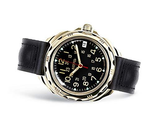 VOSTOK | Men's Komandirskie Classic Commander Russian Military Style Mechanical Watch | WR 20 m | Model 219782 Leather Band