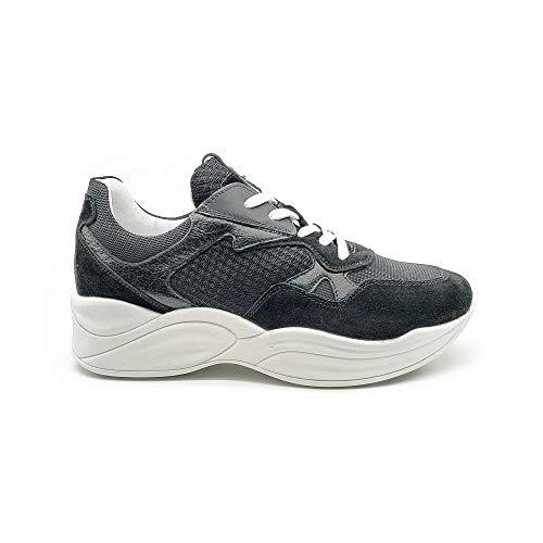 Nero giardini sneaker donna in pelle e tessuto fondo platform p907820d - 36 - nero
