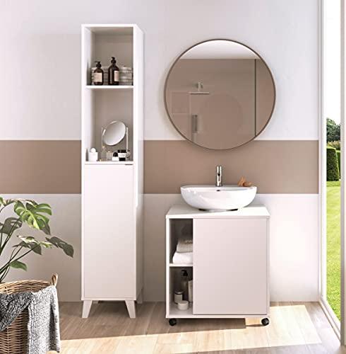Miroytengo Pack Muebles de baño Sintra Color Blanco Alto Brillo Lavabo Pedestal Moderno (Mueble de baño + Columna)
