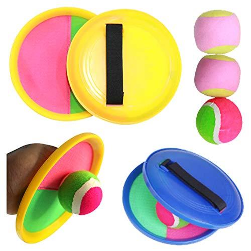 Gqavril12 Ballspiele,Catch Ball Set Tennis Spielzeug Ball Catch Ball Spiel Fangball Kinder Ballspiele für Kinder Park oder Strand 2 Paddel 3 Bälle(5 Stücke)