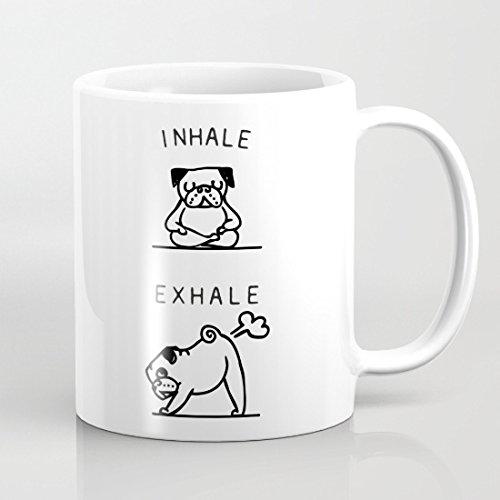 Qemingyer EINATMEN ausatmen Mops Tassen, Geschenk für Frauen Funny Hund für Herren Presents Tasse Geschenk für Mom 313ml Tochter Kaffee Tasse Keramik Tasse beiden Seiten