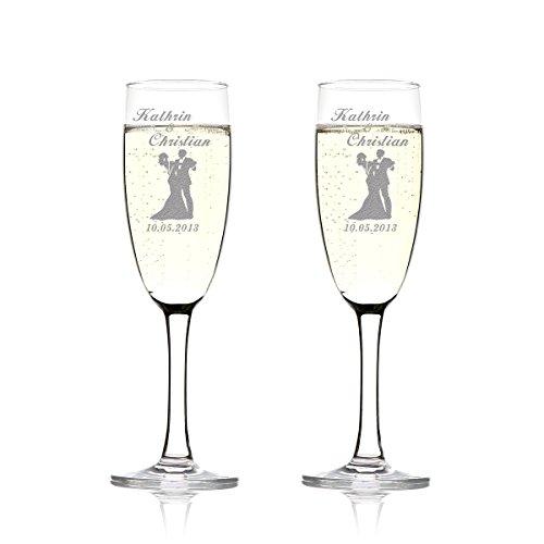 polar-effekt 2er Set Sektgläser Personalisiert mit Gravur - Hochzeitsgeschenke für Brautpaare - Namen und Datum - Geschenkidee zur Hochzeit - Hochzeitsgläser für Paare - tanzendes Paar