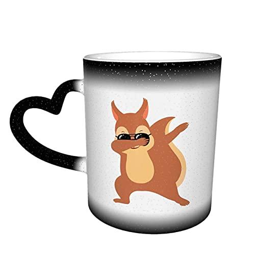 Oaieltj Divertidas tazas que cambian de calor, ardilla con gafas de sol, personalizadas, sensibles al calor, cambiantes de color, taza de té de leche, tazas de café mágicas