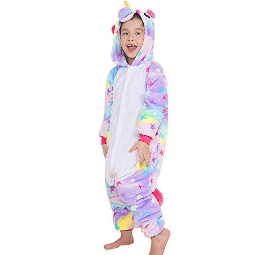 Yansion Bambini Unicorno Pigiama delle Onesie,Costumi Cosplay Felpa con Cappuccio Sleepwear Flanella Unicorno Nightwear Cartoon Fancy Dress Up per Bambini Regalo di Compleanno di Natale(XXL)