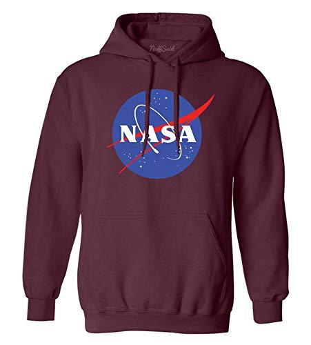 NuffSaid NASA Meatball Logo Worm Hooded Sweatshirt Sweater Pullover - Unisex Hoodie (Medium, Maroon)