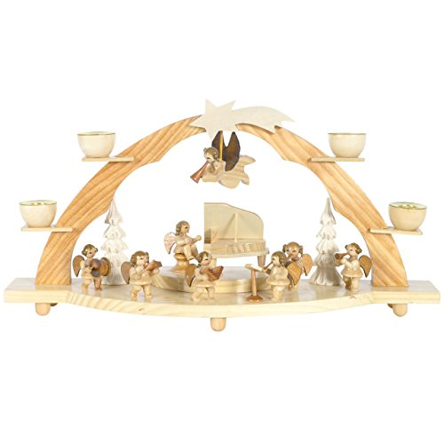 Schwibbogen große Engel-Kapelle, 34x18cm, natur, für echte Kerzen