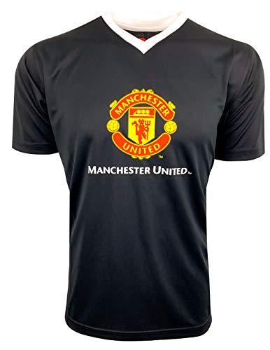 Manchester United Training Jersey, for Kids and Adults, Licensed Manchester U. Shirt (Youth Medium 7-9 Years) Black