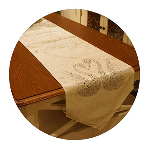 Caminos de mesa De Cisne Negro Toalla De Cubierta Decorativa Colocada En El Medio De La Mesa Mantel Decorativo para La Mesa De Centro De La Sala De Estar (Color : Blanco, Size : 30 * 180cm)