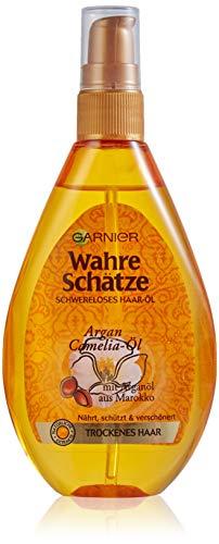 Garnier Haar-Öl für trockenes Haar, Mit pflegendem Arganöl für mehr Glanz und Geschmeidigkeit, Wahre Schätze, 1 x 150 ml