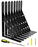 Blingstar Shelf Brackets Heavy Duty Triangle Wall Brackets 8 Pack 11.8x7.5 Inch Steel L Bracket Industrial 90 Degree Metal Shelf Support for Garage Kitchen Cabinet Floating Shelves, with Screws, Black