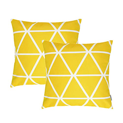 TIDWIACE Yellow Cushion Cover Abstract Art Indoor Home Decorative Set of 2 - Accent Throw Pillow Covers Case Pillowcases for Outdoor garden bed couch cushions Bedroom Car with Invisible Zipper 45x45cm