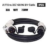 ETE ETMATE EV/Cable de Carga de vehículos eléctricos 16 Amp Tipo 1 a Tipo 2 Cable de Carga EV 5M para estación de Carga de vehículos eléctricos
