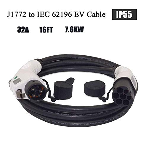ETE ETMATE - Cable de carga - Tipo 1 a Tipo 2 - 16A - 5 Metros