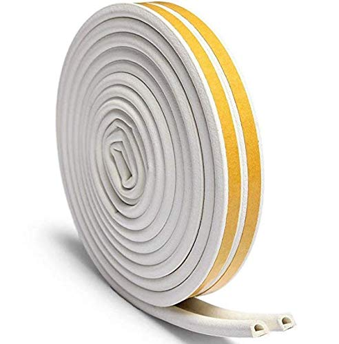 Door Seal Weather Strip, Window Anti-Collision Self Adhesive Rubber Foam Seal Strip Soundproofing Weatherstrip Waterproof Seal, 7/20-Inch x 6/25-Inch x 9.8 Feet, White(2 Seals)