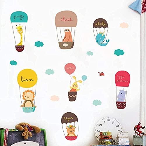 Animal Air Balloon Etiquetas de pared Decoración para el hogar Giraffe Lion Conejo Sala de estar PVC Fotomural