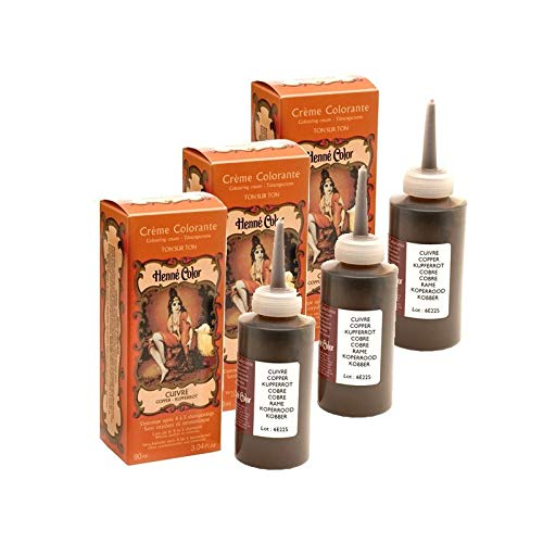 3 Cremes Farbcreme, Kupfer, 100 % natürlich, ohne Sulfate, für Haare, semi-permanent, natürliche Pflege, Henna, Kapillar, 3 x 90 ml