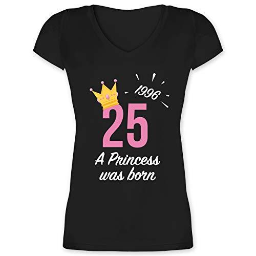 Geburtstagsgeschenk Geburtstag - 25 Geburtstag Mädchen Princess 1996 - XXL - Schwarz - 25 Geburtstag alte schachtel - XO1525 - Damen T-Shirt mit V-Ausschnitt