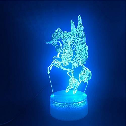 Ángel dominante animal caballo lámpara de mesa pequeña creativa acrílico multicolor luz de noche pequeña decoración creativa lámpara de mesa pequeña lámpara LED 7D base agrietada