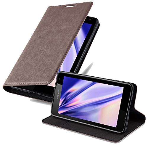 Cadorabo Hülle für Nokia Lumia 535 - Hülle in Kaffee BRAUN – Handyhülle mit Magnetverschluss, Standfunktion & Kartenfach - Hülle Cover Schutzhülle Etui Tasche Book Klapp Style