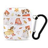AirPods Cases Jack Russell in Autumn Premium Silicone Protective Cover Compatible with AirPods 1&2 with Keychain