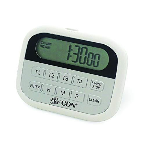 CDN 4-Event Timer & Clock Digital Timer, White