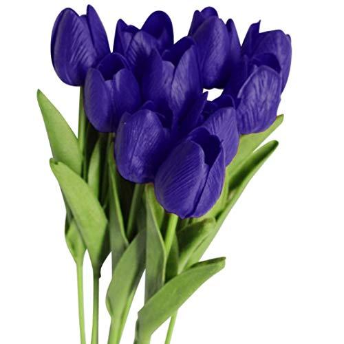 Enticerowts - Juego de 10 tulipanes artificiales de colores vivos para decoración del hogar, boda, fiesta, regalo, fotografía, accesorio, Púrpura oscuro