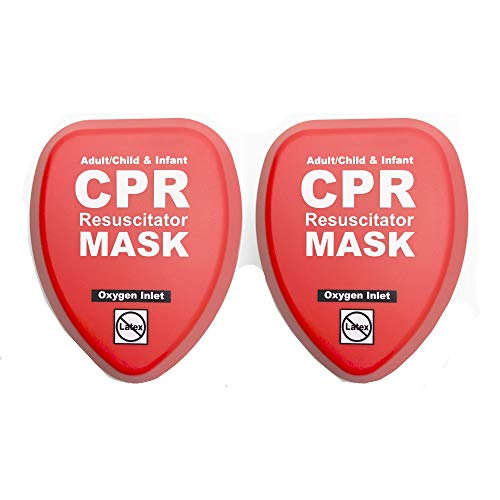 WNL Products CPR Rescue Mask, Adult/Child & Infant Pocket Resuscitator, Hard Case Kit with Belt Clip 2-Pack