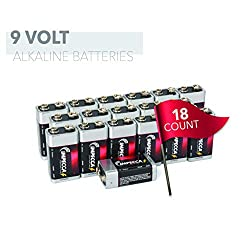 IMPECCA 9 Volt Batteries 18 Count High Performance 9V Alkaline Batteries Long Lasting in Storage 6LR61 18 Pc