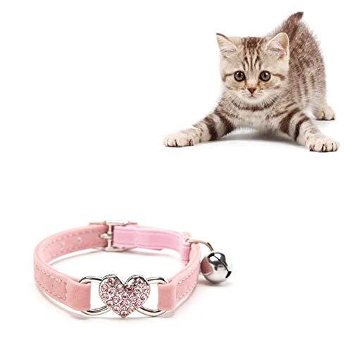 Collar del Gato Collares para Gatos Collares Perrito Gatito con La Campana De Bling del Amor del Corazón Ajustable De Liberación Rápida De Tracción Rosa