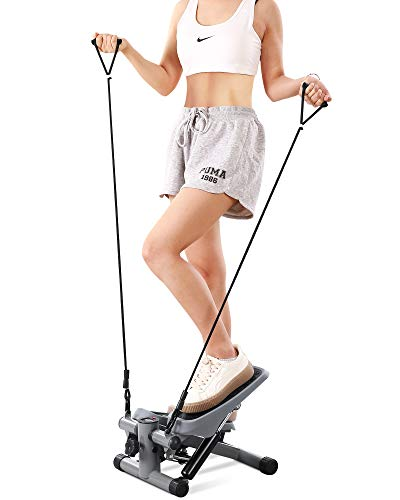 MaxKare Mini Fitness Stepper for Exercise Stepper with Resistance Bands Aerobic Motor Adjustable Portable Hydraulic Cylinder LCD Display Weight Capacity Use by Adult & Kid & Teenager by MaxKare