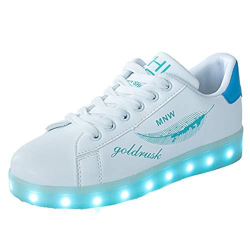 Lucky Kids Kinder Jungen Mädchen LED Schuhe Blinkende Leuchtschuhe Weiß 7 Farbe USB Aufladen LED Sportschuhe Farbwechsel Light up Low Top Sneaker Turnschuhe