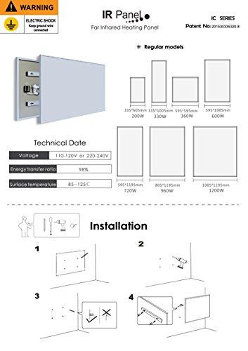 Infrarot-Heizung-Panel Raumheizung Elektrische Heizungen 720watt Tulpe Weiß Rahmen Bild 5*