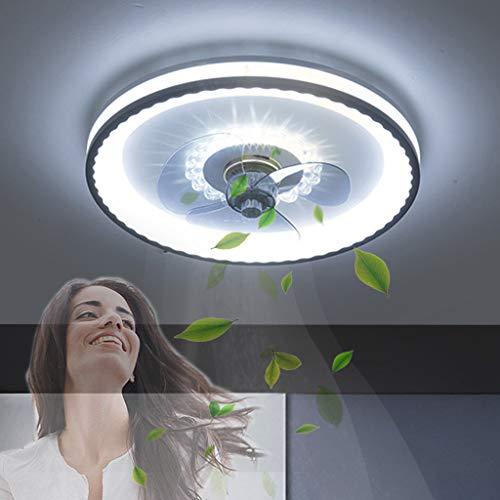 Ventilador de techo con lámpara de ventilador moderno LED con iluminación Lámpara de techo LED regulable con control remoto Dormitorio de ventilador invisible silencioso