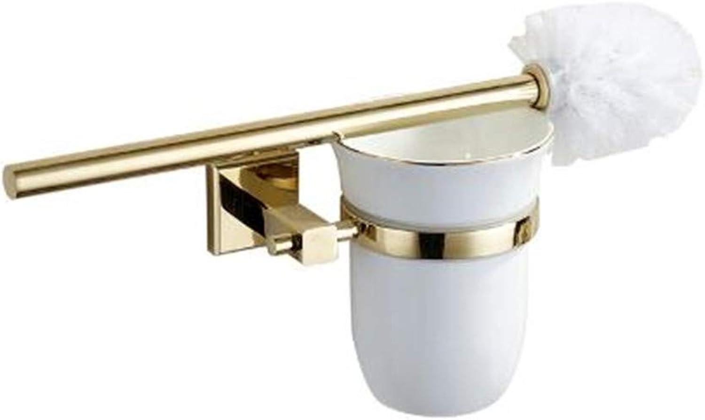 LUDSUY Zirconium gold Square Base Toilet Brush Holder Ceramic Cup Copper Toilet Brush Shelf Mounting Hardware Sets Bathroom