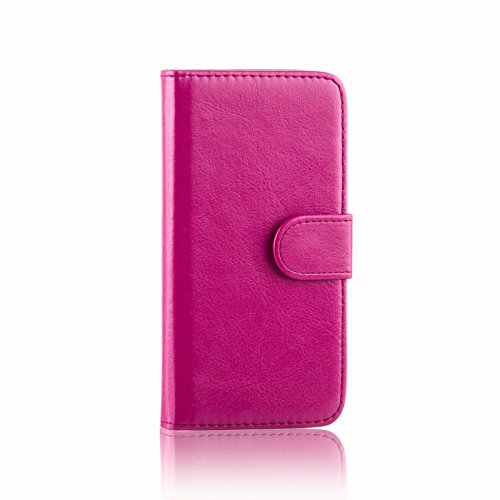 32nd PU Leder Mappen Hülle Flip Hülle Cover für Alcatel Pixi 4 (4.0), Ledertasche hüllen mit Magnetverschluss & Kartensteckplatz - Hot Pink