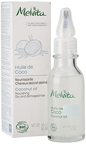 Melvita - Huile de Coco Bio - Soin Visage, Corps et Cheveux - Soin Réparateur Nutrition Intense - Pressée à Froid - Certifié Bio, 100% Naturel, Vegan - Flacon avec Applicateur Précision 50ml