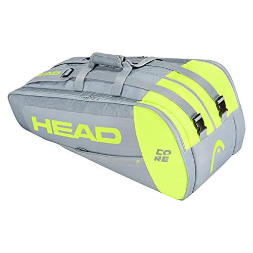 HEAD Tennis Tasche Damen,Tennis Tasche, Tennis Tasche Nike,Tennis Tasche Wilson,Angie Kerber Tennis Tasche,artengo Tasche Tennis Core 9R Supercombi Tennistasche, grau/neon gelb, 9 Racquets