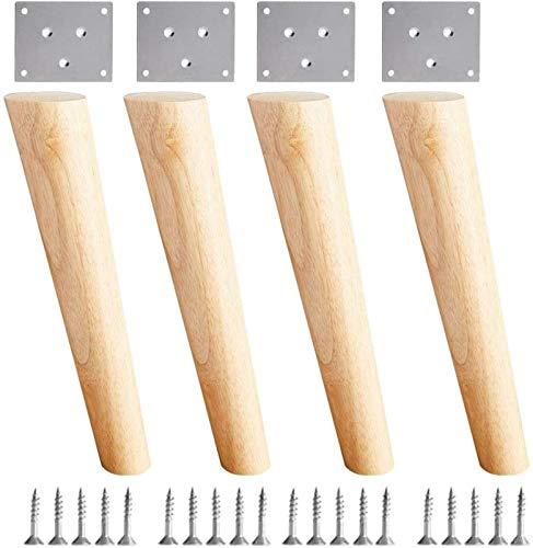 LYSTC Massivholzmöbel Schrägkegel Ersatzfüße, Stützfüße, mit Montageplatte und Schrauben, für Sofa-TV-Schrankschrank Schrank Kleiderschrank Nachttisch Vier-teiliges Set (Size : 30cm)