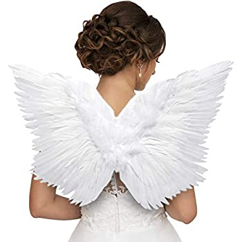 Angel Feather Wings with Adjustable Straps to Fit Kids and Adults | For Infant Photo Shoot Halloween Costume Comic-Con Cosplay.