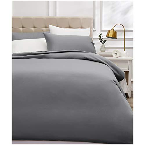 Amazon Basics - Bettwäsche-Set, Fadendichte 400, Baumwollsatin, 200 x 200 cm und zwei Kissenbezügen, 50 x 80 cm, Dunkelgrau