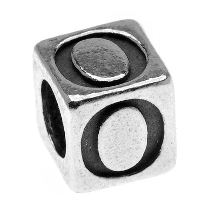 Beadaholique Pewter Lead Free Alphabet Cube Bead, Letter O, 5.5mm